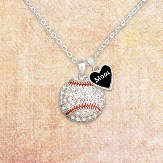 Baseball Mom Necklace with Two Charms,Necklaces