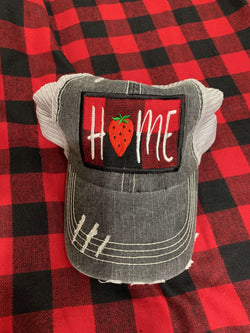 Buffalo Plaid HOME Trucker Cap with Strawberry