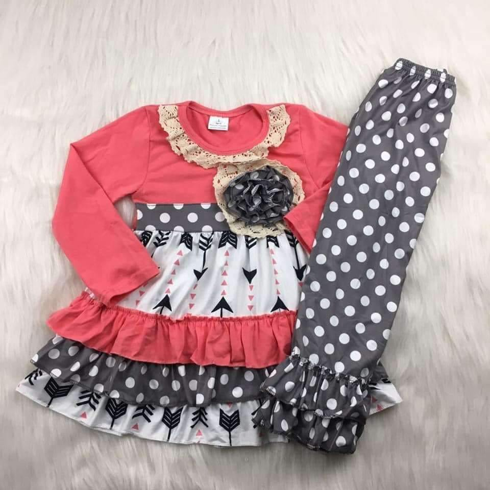 Coral and Gray Polka Dot and Arrow Pant Set,Kids Clothes