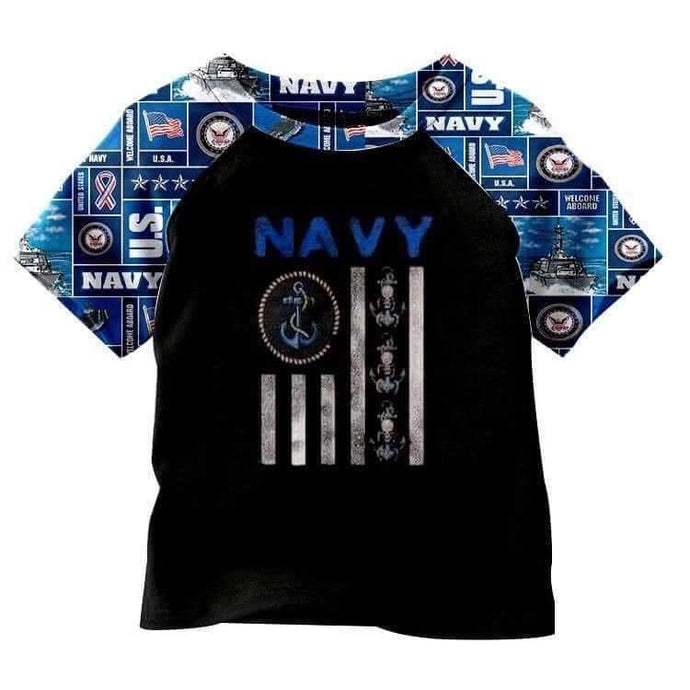 Navy Short Sleeve Shirt,Kids Clothes