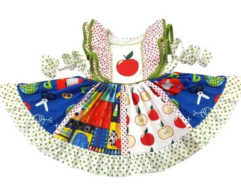 Back to School Apple Twirl Dress,Kids Clothes