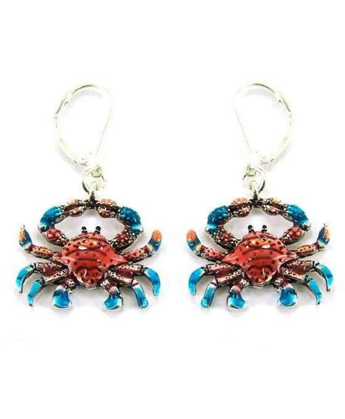 Blue and Red Crab Earrings