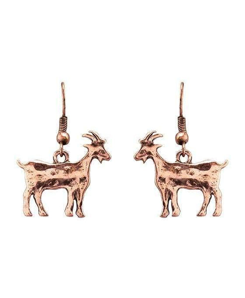Burnished Copper Goat Earrings