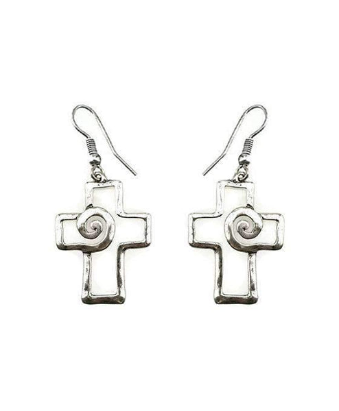Cross Shape Swirl Earrings