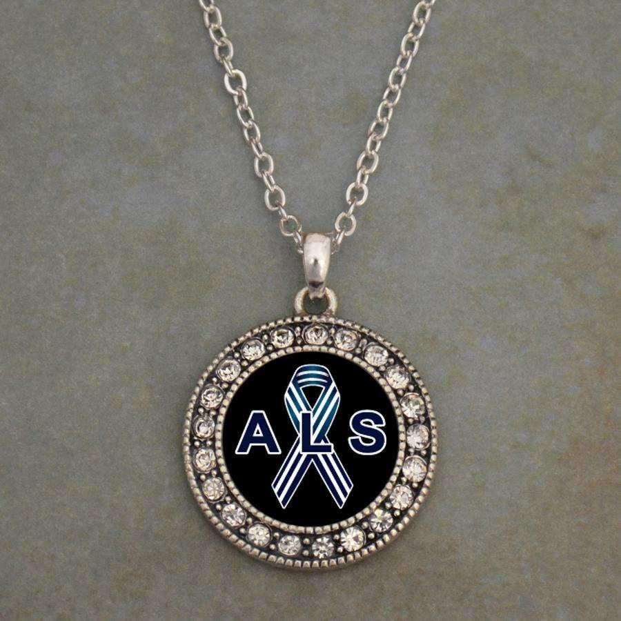 ALS Awareness Ribbon Necklace