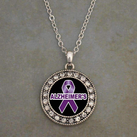 Alzheimers Awareness Ribbon Necklace