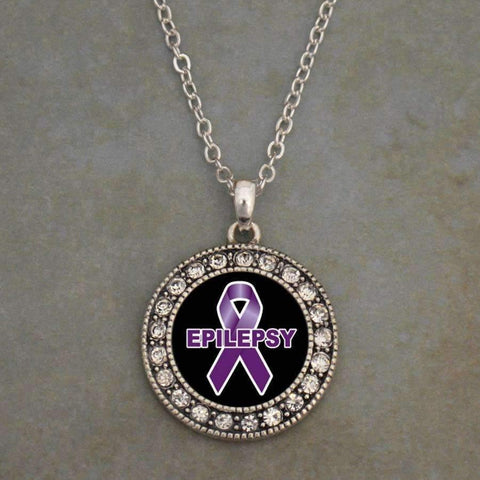 Epilepsy Awareness Ribbon Necklace