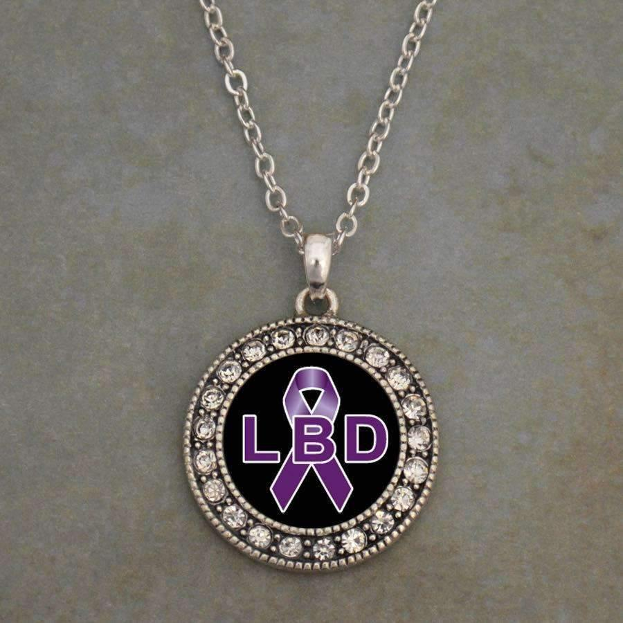Lewy Body Dementia Awareness Ribbon Necklace,Necklaces