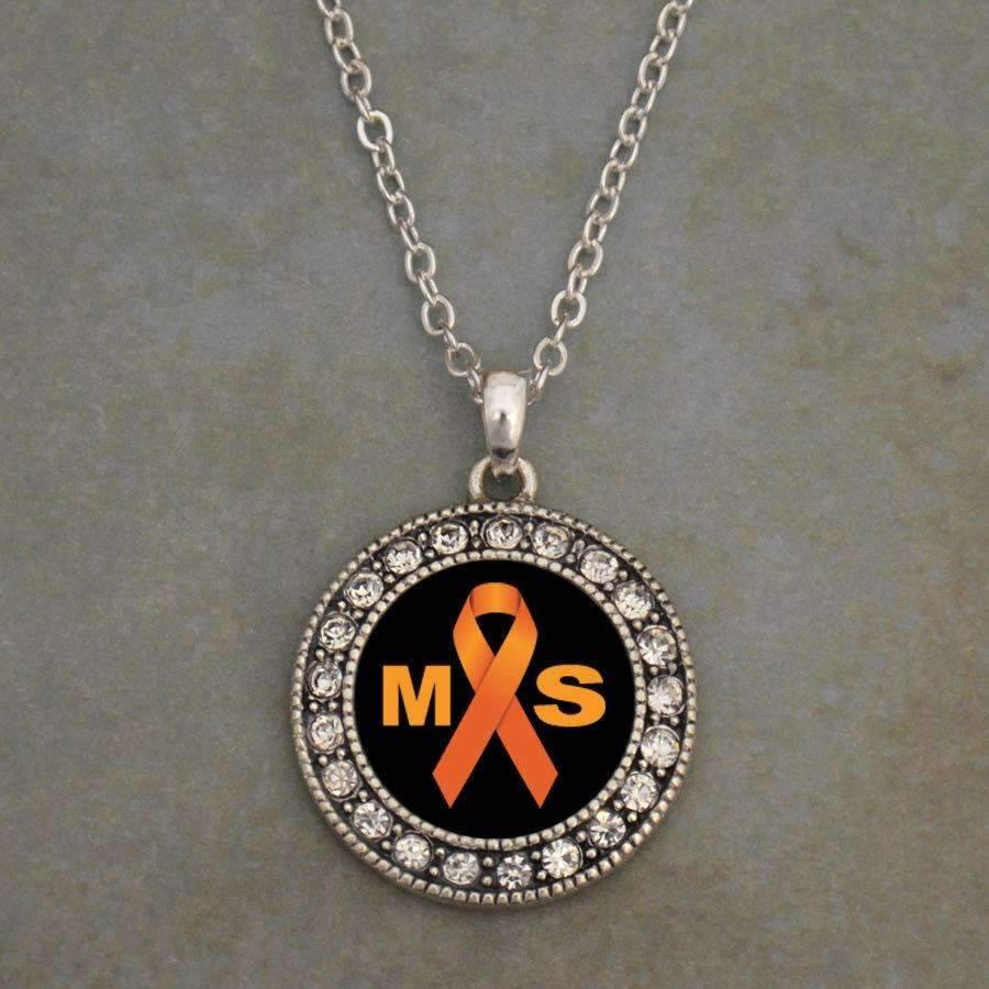Multiple Sclerosis MS Awareness Ribbon Necklace