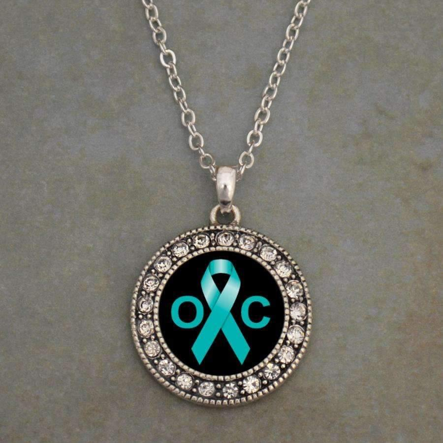 Ovarian Cancer Awareness Ribbon Necklace,Necklaces