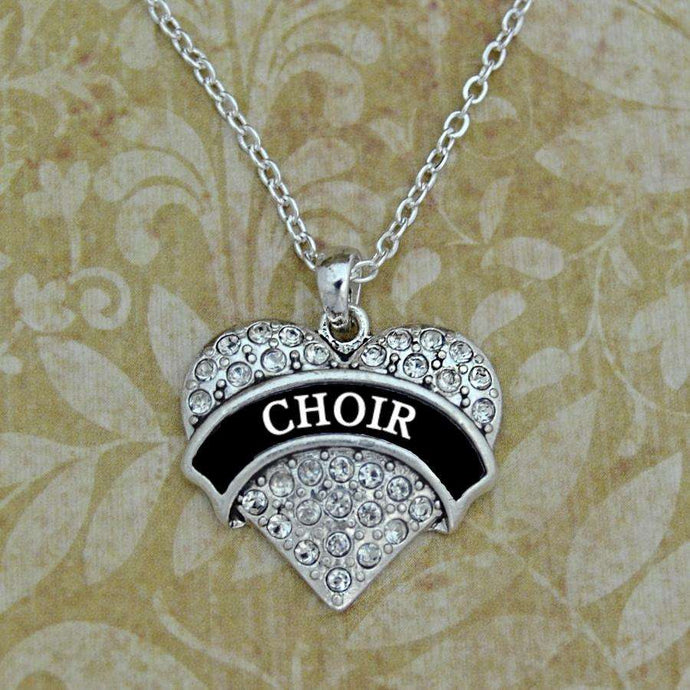 Choir Rhinestone Heart Necklace,Necklaces