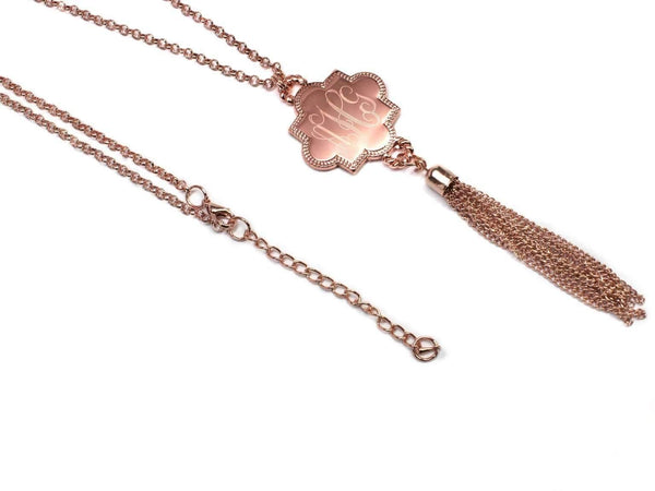 Quatrefoil Shape Engraved Long Tassel Necklace Rose Gold