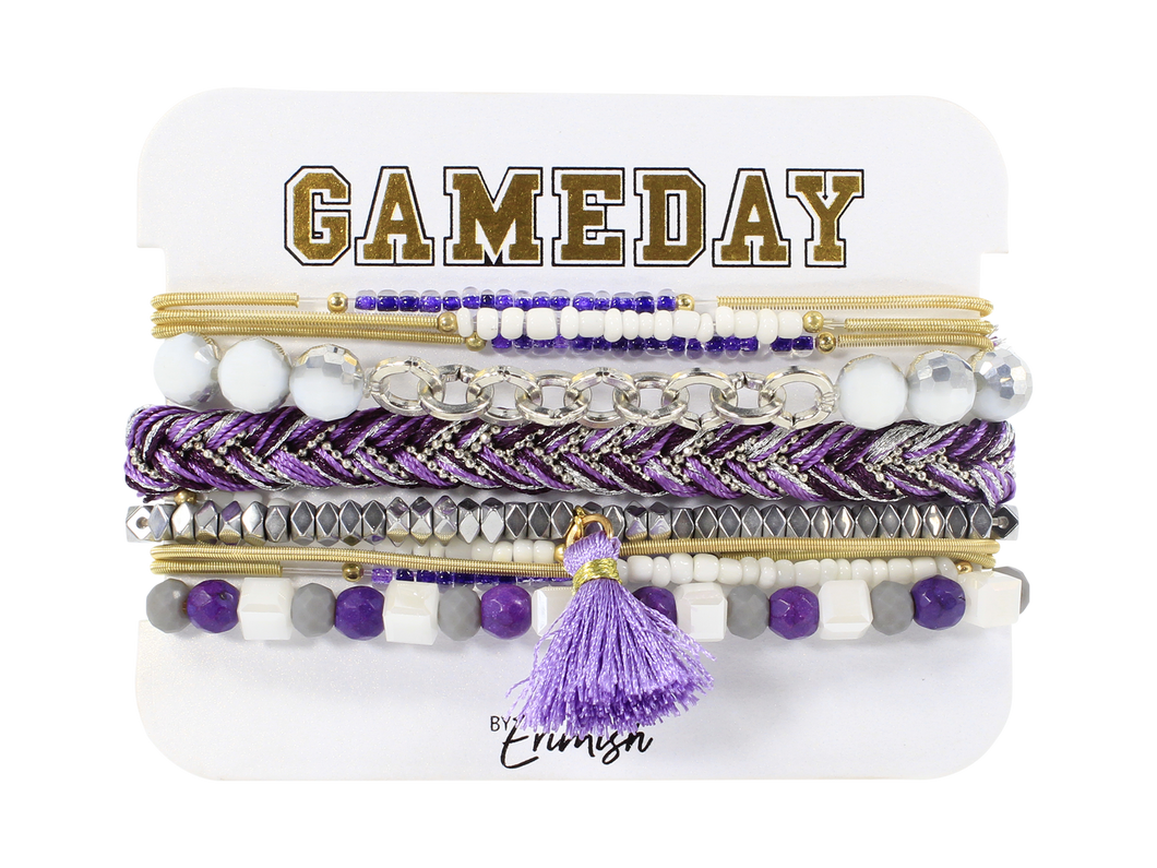 Erimish Gameday Purple and White Bracelet Stack
