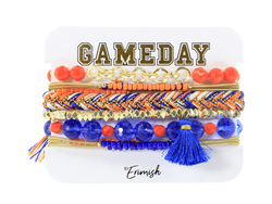 Erimish Gameday Royal Blue and Orange Bracelet Stack