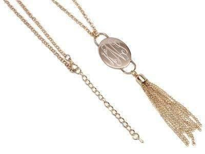 Oval Shaped Engraved Long Tassel Necklace Gold