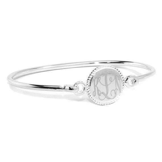 Engraved Round Bangle Bracelet with Rope Design Edge