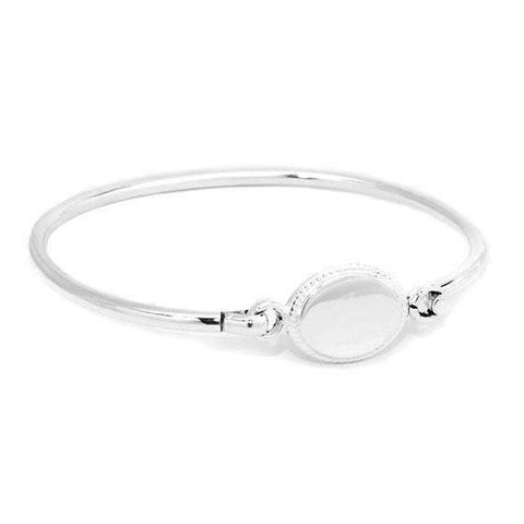 Oval Shape With Rope Edging Engraved Bangle Bracelet