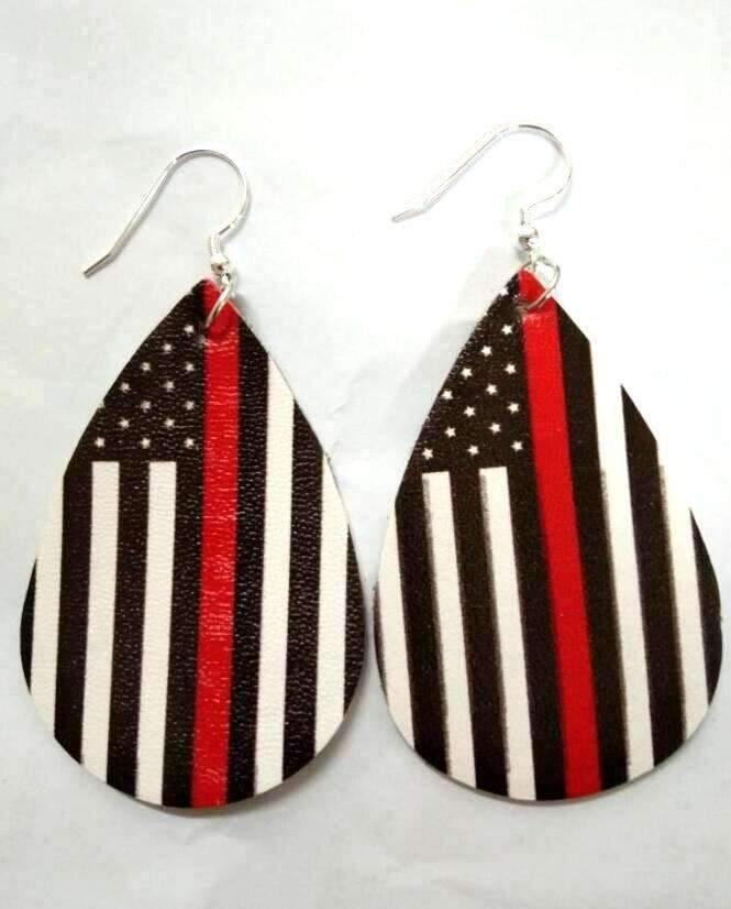 Faux Leather Earrings Red Line Fire Department,Live Show
