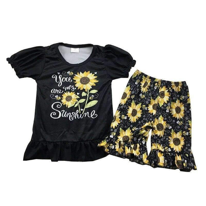 You are my Sunshine Sunflower Shorts Set,Kids Clothes