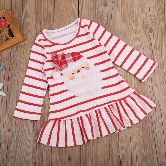 Red and White Striped Santa Dress for Kids,Kids Clothes