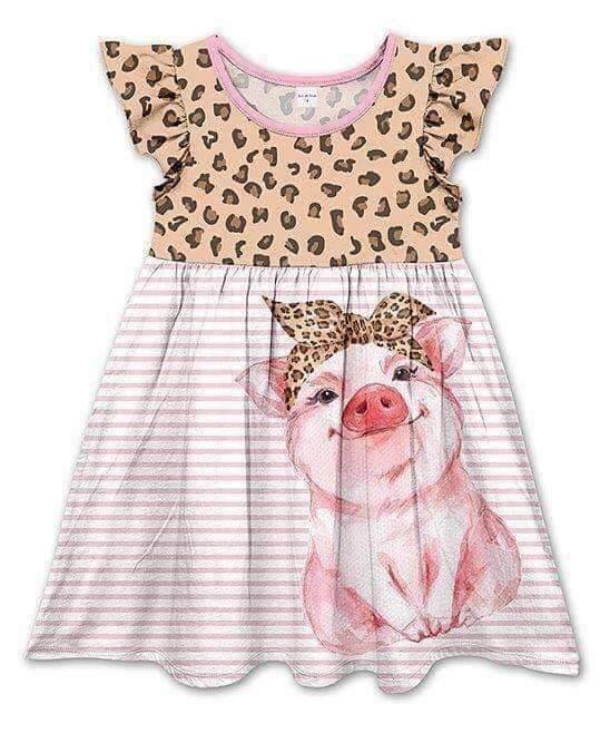 Leopard Print Pig Dress,Kids Clothes