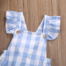 Load image into Gallery viewer, Blue Gingham Check Romper,Kids Clothes