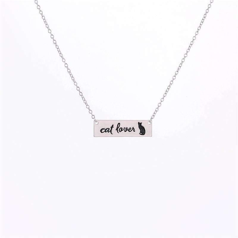 Cat Lover Bar Necklace Silver,Live Show