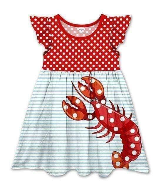 Lobster Crawfish Dress,Kids Clothes