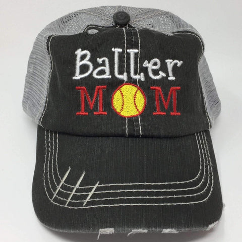 Baller Mom Softball Mom Distressed Trucker Cap