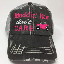 Load image into Gallery viewer, Muddin' Hair Don't Care with Quad 4 Wheeler Trucker Cap