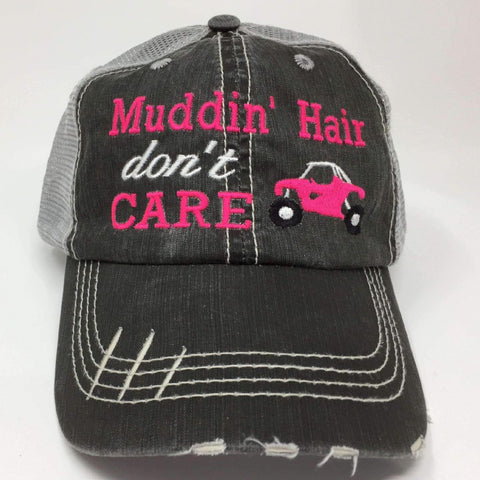 Muddin' Hair Don't Care with Quad 4 Wheeler Trucker Cap