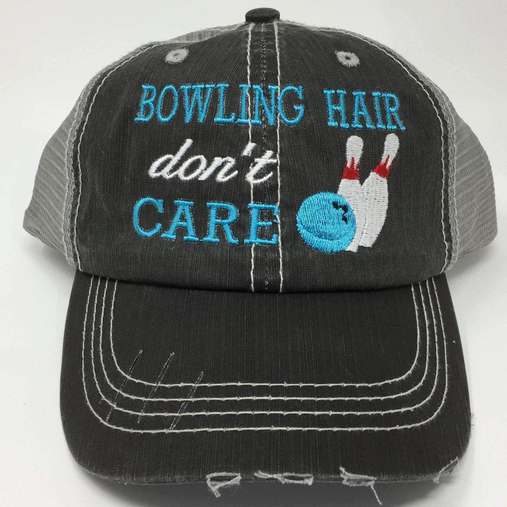 Bowling Hair Don't Care Distressed Trucker Cap,Caps