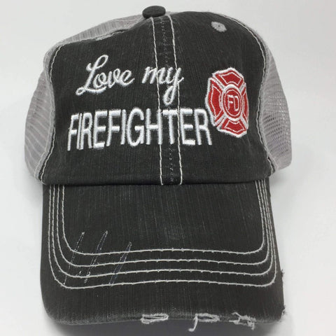 Love My Firefighter Distressed Trucker Cap