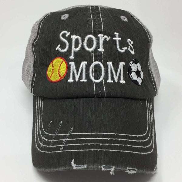 Sports Mom with Two Sports Distressed Trucker Cap
