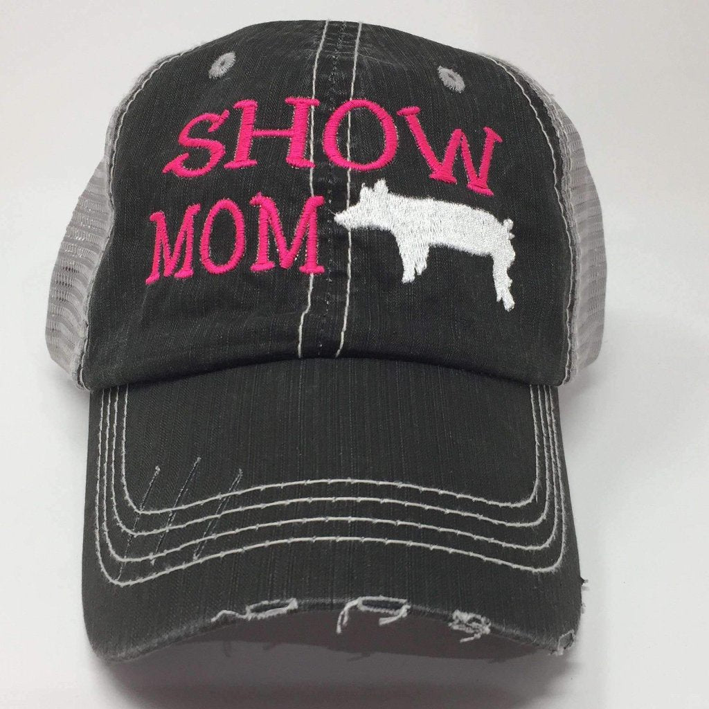 Show Mom with Pig Distressed Trucker Cap
