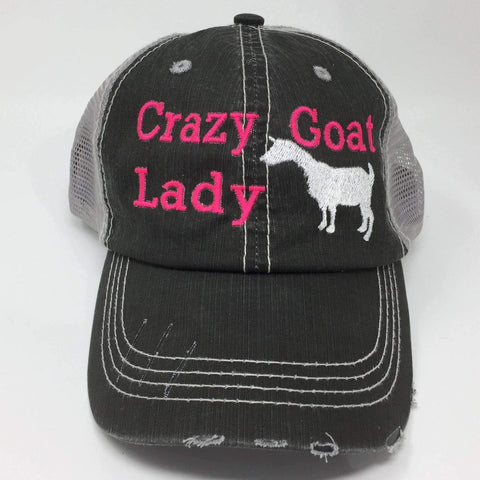 Crazy Goat Lady Distressed Trucker Cap