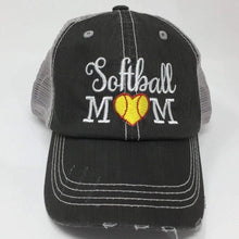 Load image into Gallery viewer, Softball Mom with Heart Vintage Trucker Cap