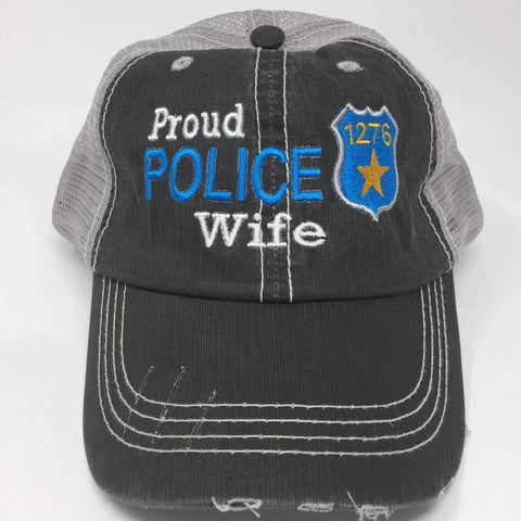 Proud Police Wife with Badge Number Trucker Cap