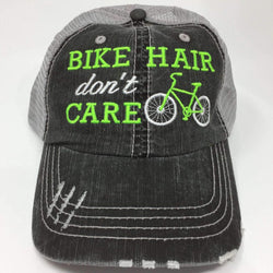 Bike Hair Don't Care Bicycle Distressed Trucker Cap