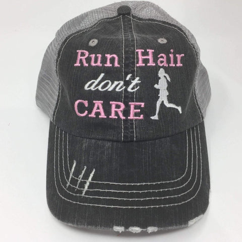 Run Hair Don't Care Distressed Trucker Cap