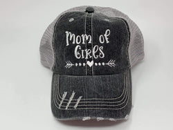 Mom of Girls Vintage Distressed Trucker Cap