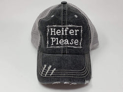 Heifer Please Distressed Vintage Trucker Cap