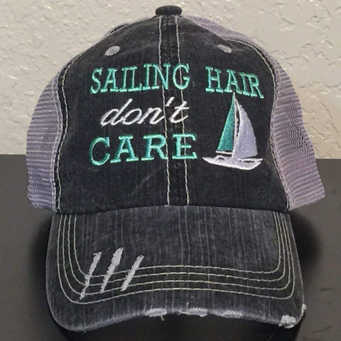 Sailing Hair Don't Care Distressed Trucker Cap