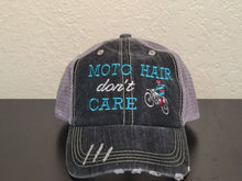 Load image into Gallery viewer, Moto Hair Don't Care Distressed Trucker Cap