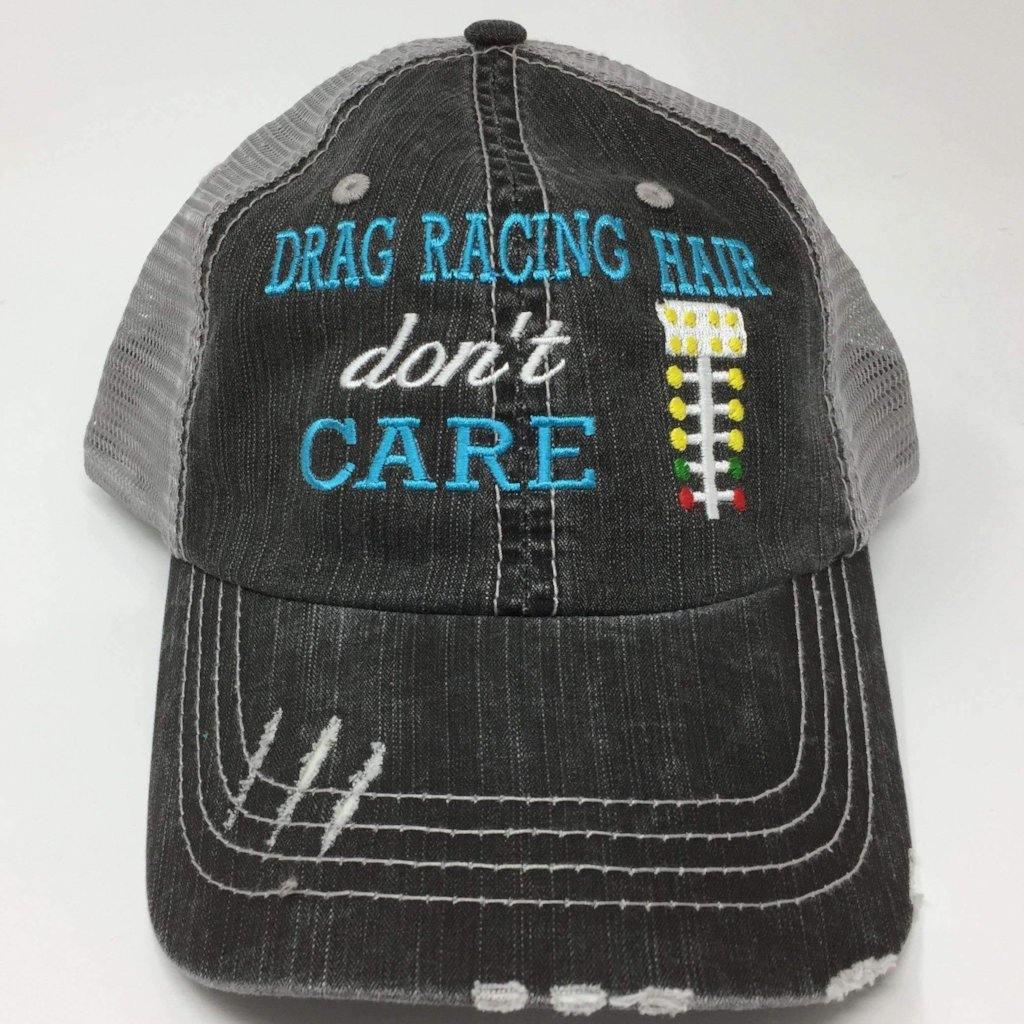 Drag Racing Hair Don't Care Trucker Cap