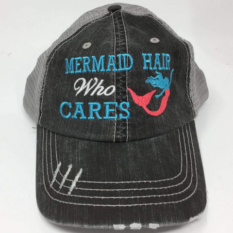 Mermaid Hair Who Cares Embroidered Trucker Cap