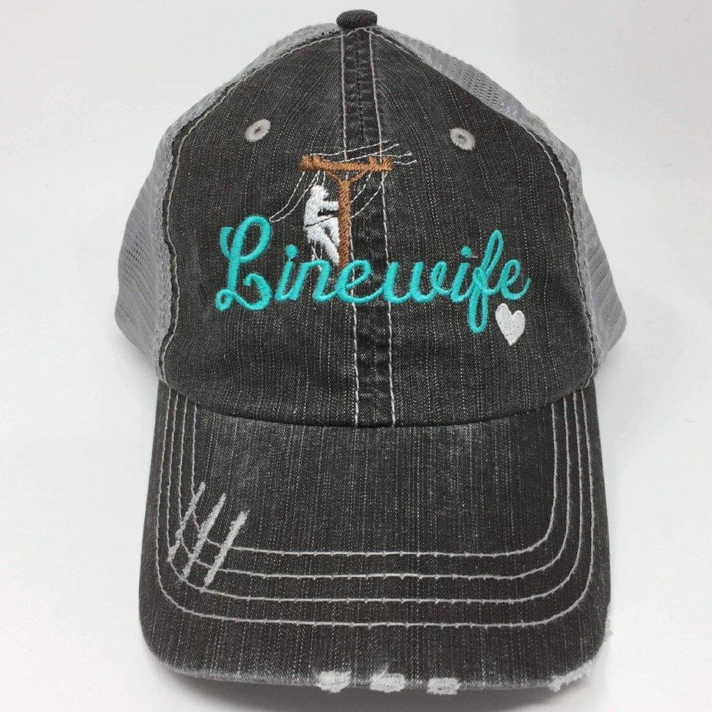Lineman's Wife Distressed Trucker Cap