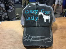 Load image into Gallery viewer, Crazy Goat Lady Distressed Trucker Cap