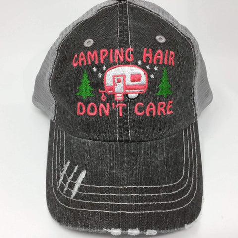 Camping Hair Don't Care with Trees Distressed Trucker Cap