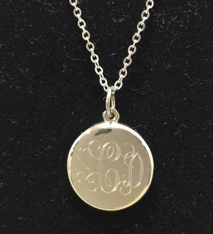 Medium Size Engraved Necklace with Open Link Chain